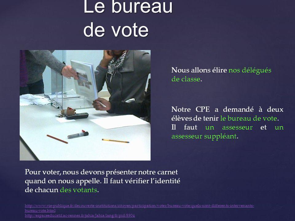Le bureau de vote Notre CPE a demandé à deux élèves de tenir le bureau de vote. Il faut un assesseur et un assesseur suppléant. Pour voter, nous devon