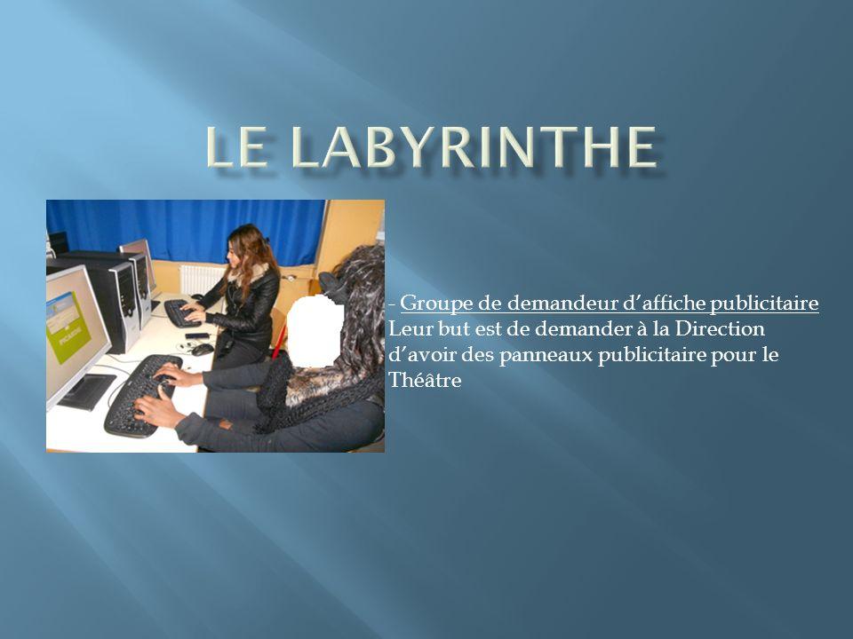 - Groupe de demandeur daffiche publicitaire Leur but est de demander à la Direction davoir des panneaux publicitaire pour le Théâtre