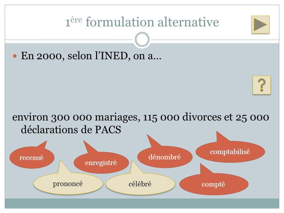 1 ère formulation alternative En 2000, selon lINED, on a… environ 300 000 mariages, 115 000 divorces et 25 000 déclarations de PACS recensé enregistré