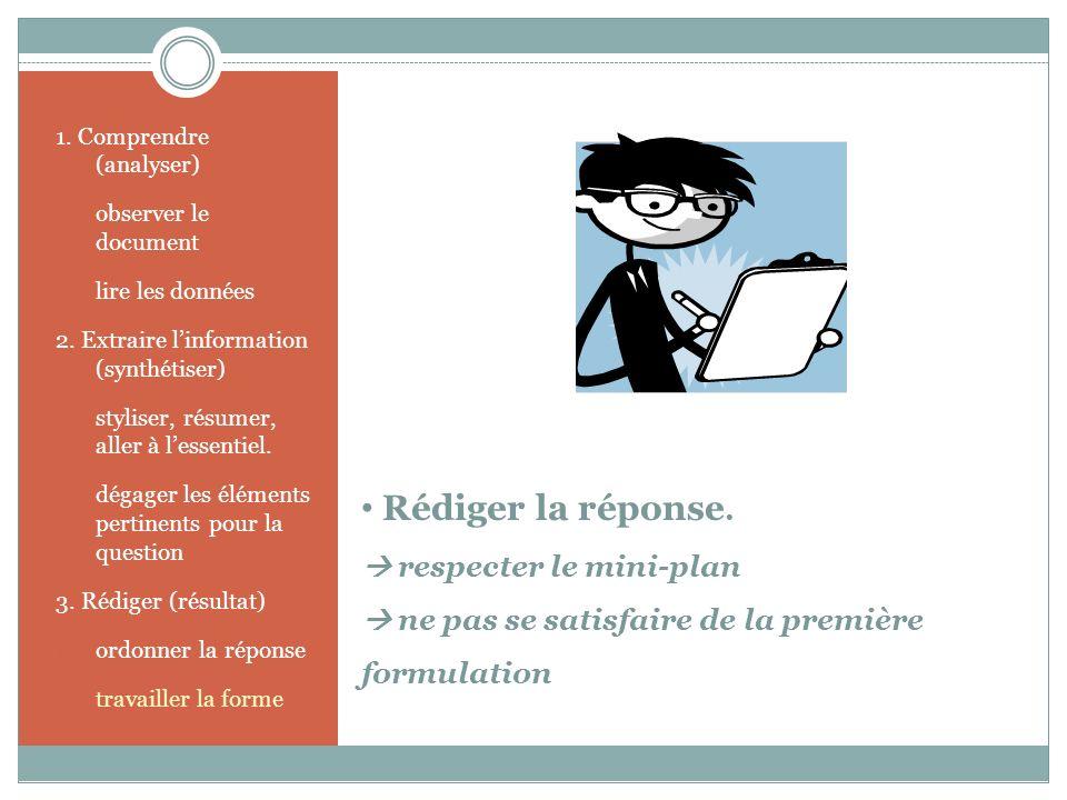 Rédiger la réponse. respecter le mini-plan ne pas se satisfaire de la première formulation 1. Comprendre (analyser) 1. observer le document 2. lire le