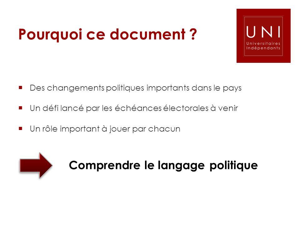 Pourquoi ce document ? Des changements politiques importants dans le pays Un défi lancé par les échéances électorales à venir Un rôle important à joue