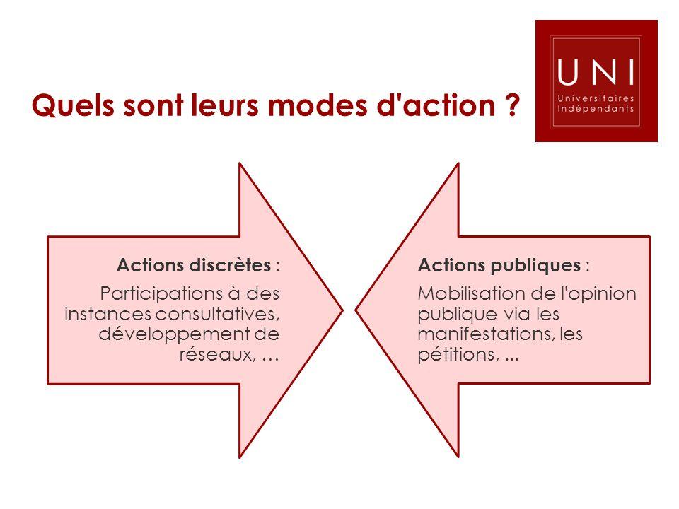 Quels sont leurs modes d'action ? Actions discrètes : Participations à des instances consultatives, développement de réseaux, … Actions publiques : Mo