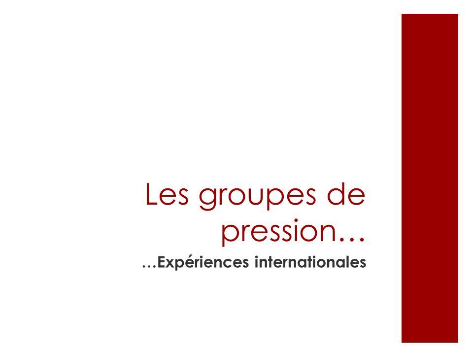 Les groupes de pression… …Expériences internationales