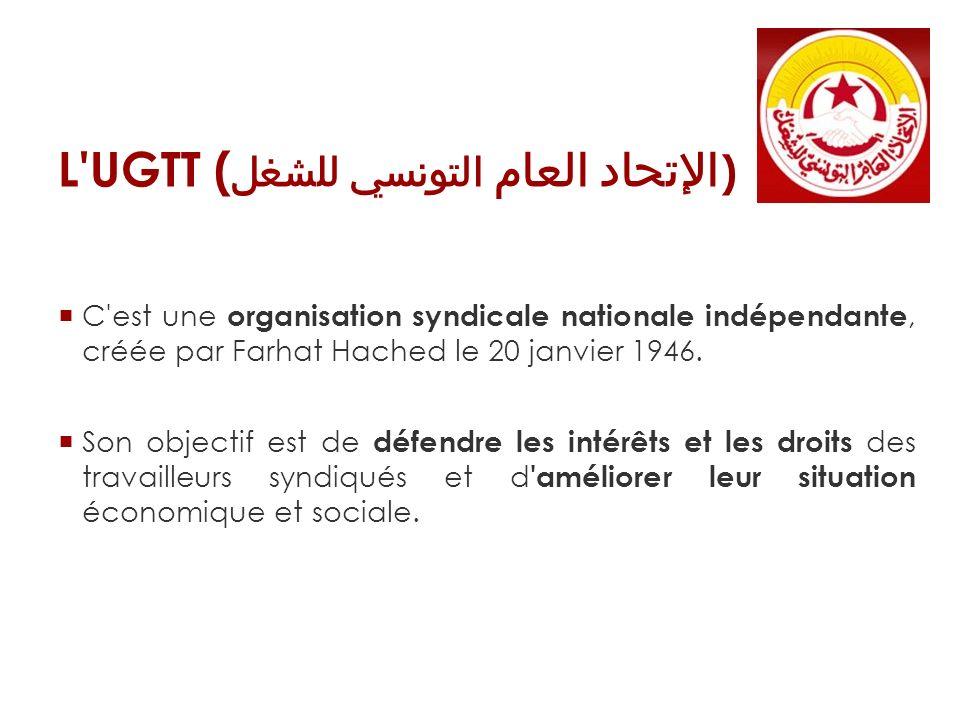 L'UGTT ( الإتحاد العام التونسي للشغل ) C'est une organisation syndicale nationale indépendante, créée par Farhat Hached le 20 janvier 1946. Son object