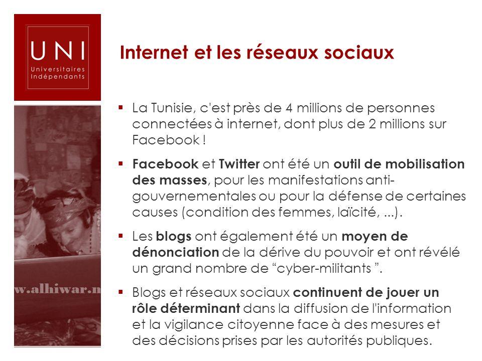 Internet et les réseaux sociaux La Tunisie, c'est près de 4 millions de personnes connectées à internet, dont plus de 2 millions sur Facebook ! Facebo