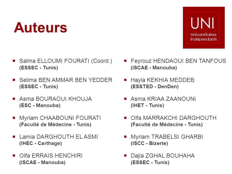 Auteurs Salma ELLOUMI FOURATI (Coord.) (ESSEC - Tunis) Selima BEN AMMAR BEN YEDDER (ESSEC - Tunis) Asma BOURAOUI KHOUJA (ESC - Manouba) Myriam CHAABOU
