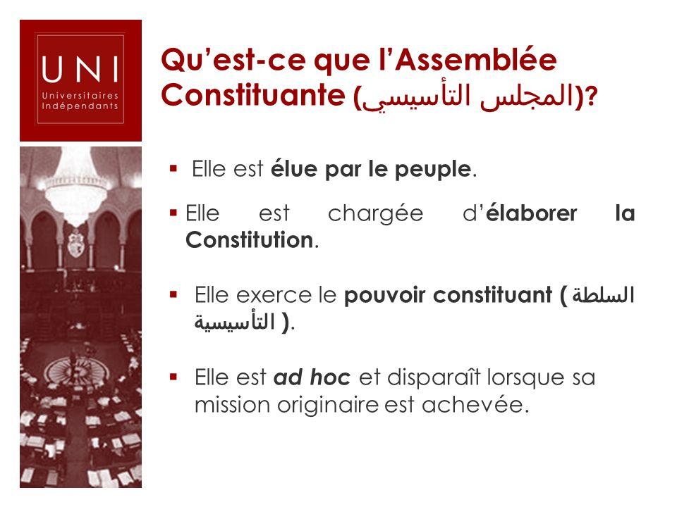 Quest-ce que lAssemblée Constituante ( المجلس التأسيسي )? Elle est élue par le peuple. Elle est chargée d élaborer la Constitution. Elle exerce le pou