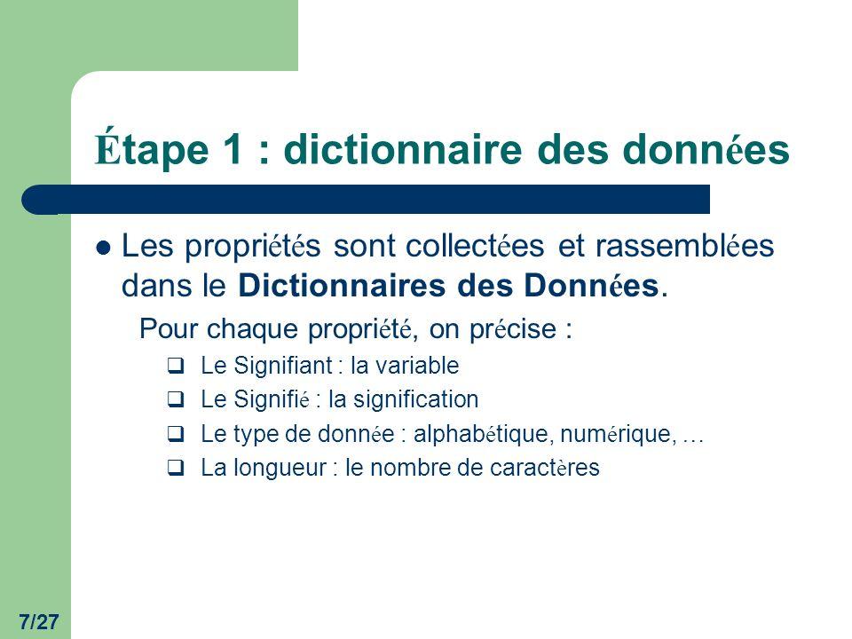 8/27 É tape 1 : dictionnaire des donn é es Remarques : Les synonymes sont des Signifi é s qui ont le même Signifiant.