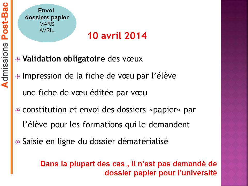 10 avril 2014 Validation obligatoire des vœux Impression de la fiche de vœu par lélève une fiche de vœu éditée par vœu constitution et envoi des dossi