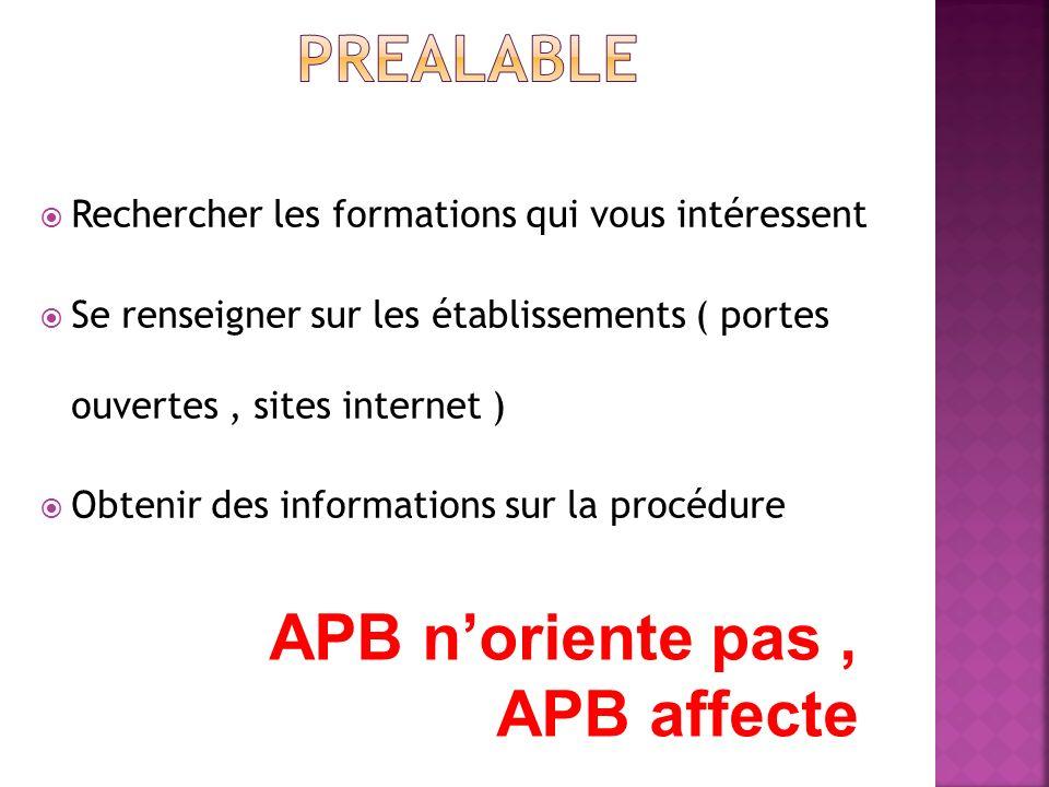 Rechercher les formations qui vous intéressent Se renseigner sur les établissements ( portes ouvertes, sites internet ) Obtenir des informations sur la procédure APB noriente pas, APB affecte