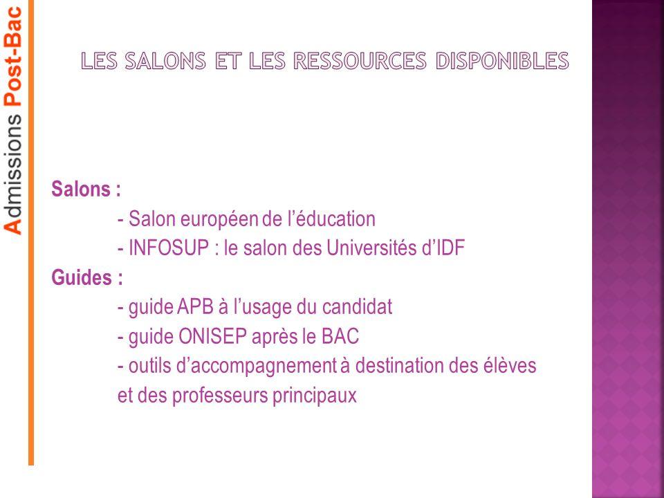 Salons : - Salon européen de léducation - INFOSUP : le salon des Universités dIDF Guides : - guide APB à lusage du candidat - guide ONISEP après le BA