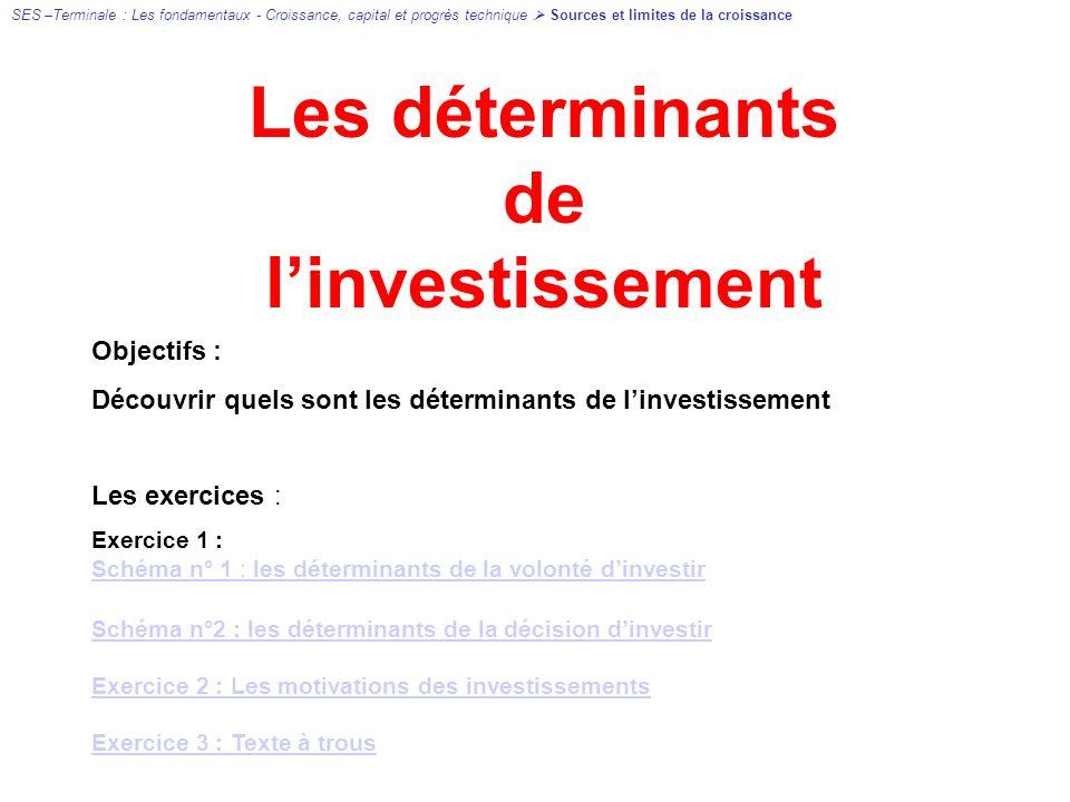 Les déterminants de linvestissement Objectifs : Découvrir quels sont les déterminants de linvestissement Les exercices : Exercice 1 : Schéma n° 1 : les déterminants de la volonté dinvestir Schéma n°2 : les déterminants de la décision dinvestir Exercice 2 : Les motivations des investissements Exercice 3 : Texte à trous SES –Terminale : Les fondamentaux - Croissance, capital et progrès technique Sources et limites de la croissance