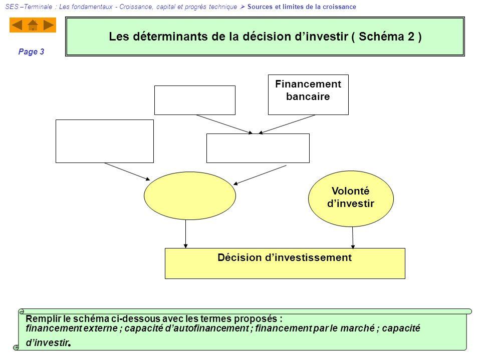 Décision dinvestissement Financement bancaire Volonté dinvestir SES –Terminale : Les fondamentaux - Croissance, capital et progrès technique Sources e