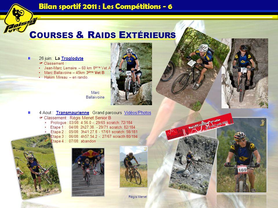 Bilan sportif 2011 : Les Compétitions - 6 C OURSES & R AIDS E XTÉRIEURS 26 juin: La Troglodyte Classement :Troglodyte Jean-Marc Lemaire – 60 km 8 ème