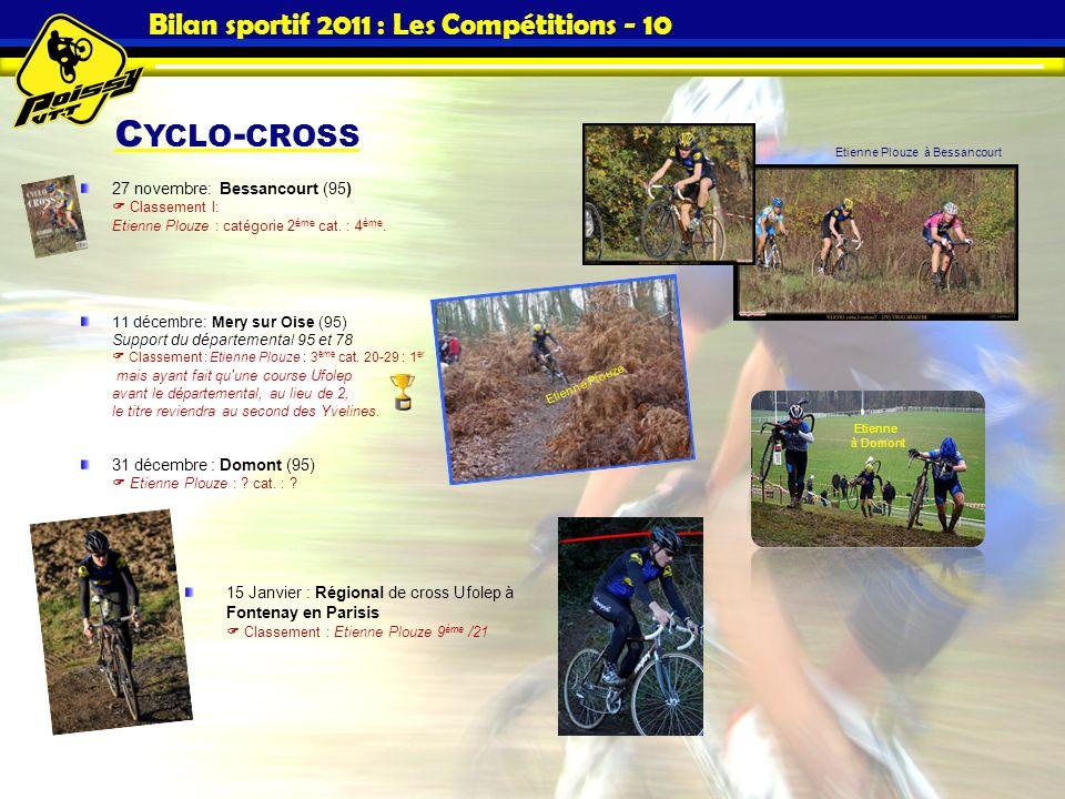 C YCLO - CROSS Bilan sportif 2011 : Les Compétitions - 10 27 novembre: Bessancourt (95) Classement l: Etienne Plouze : catégorie 2 ème cat. : 4 ème. 1