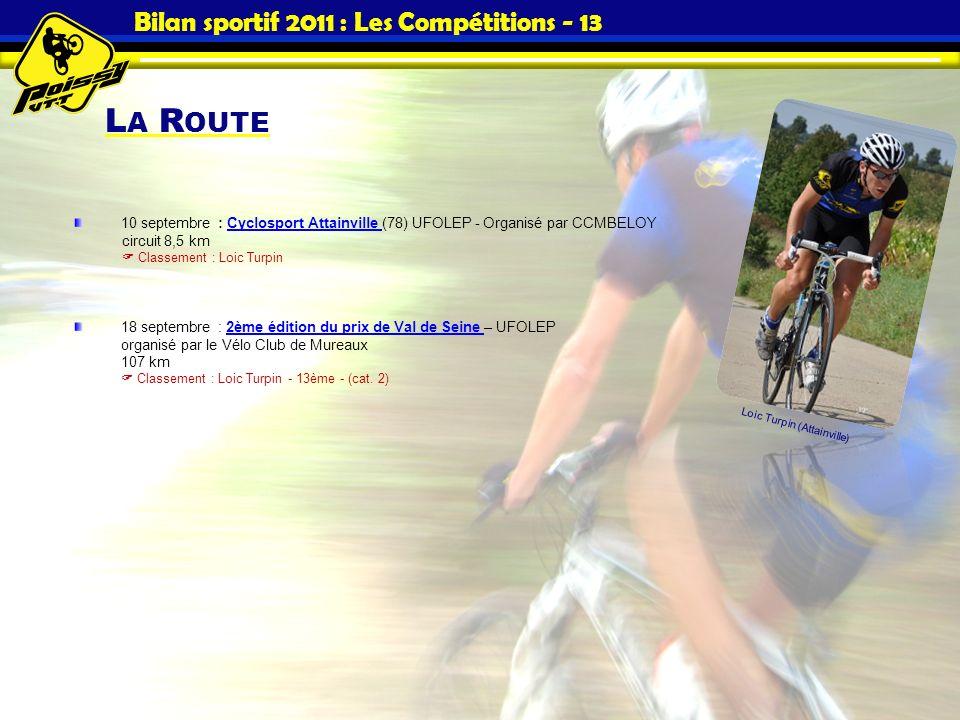 L A R OUTE Bilan sportif 2011 : Les Compétitions - 13 10 septembre : Cyclosport Attainville (78) UFOLEP - Organisé par CCMBELOY Cyclosport Attainville
