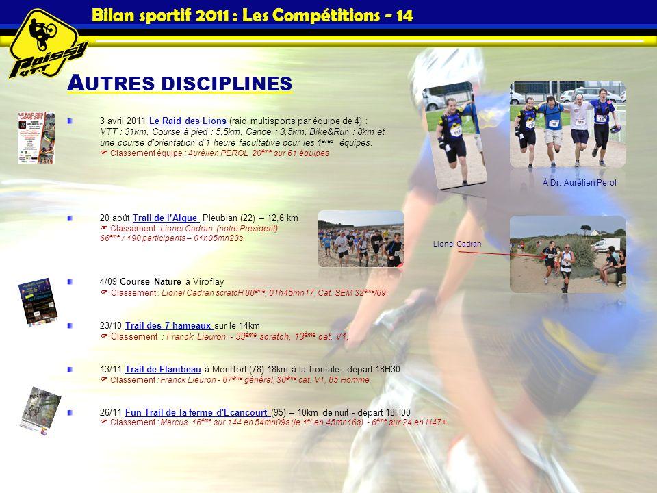 A UTRES DISCIPLINES Bilan sportif 2011 : Les Compétitions - 14 3 avril 2011 Le Raid des Lions (raid multisports par équipe de 4) : VTT : 31km, Course