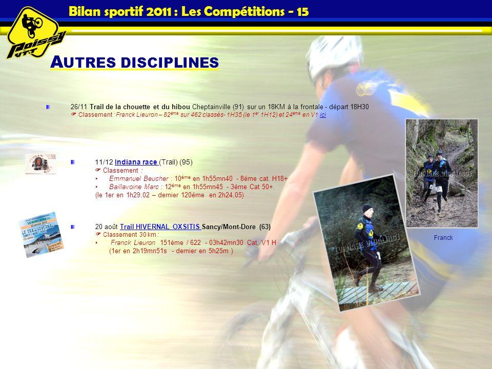 A UTRES DISCIPLINES Bilan sportif 2011 : Les Compétitions - 15 26/11 Trail de la chouette et du hibou Cheptainville (91) sur un 18KM à la frontale - d
