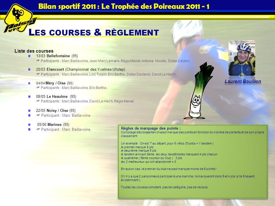 Bilan sportif 2011 : Le Trophée des Poireaux 2011 - 1 L ES COURSES & RÈGLEMENT Liste des courses 13/03 Bellefontaine (95) Participants : Marc Baillavo