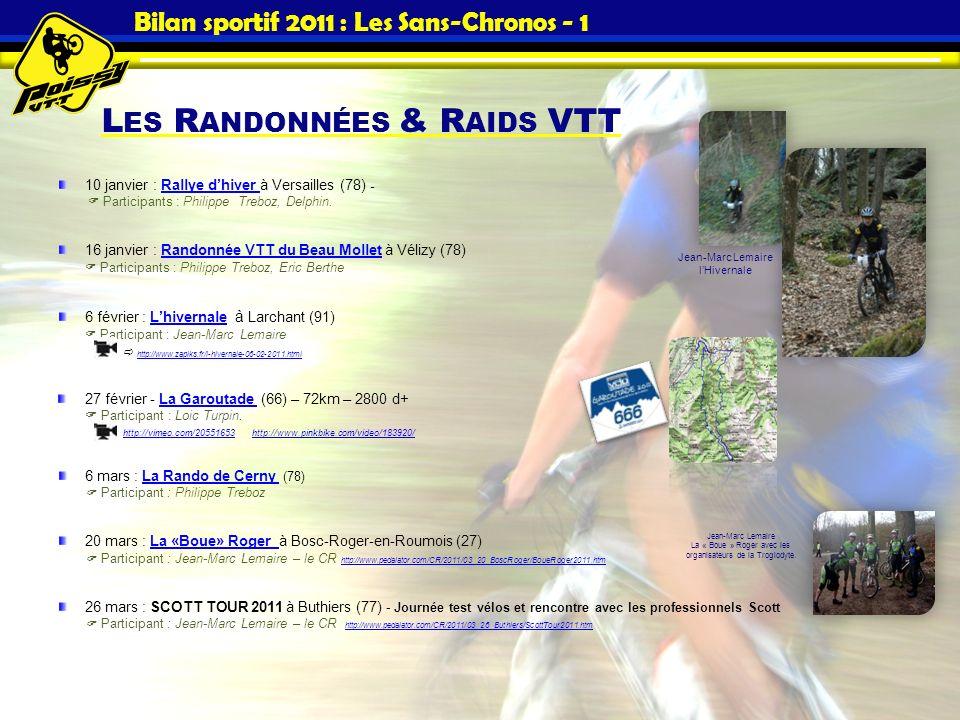 L ES R ANDONNÉES & R AIDS VTT Bilan sportif 2011 : Les Sans-Chronos - 1 10 janvier : Rallye dhiver à Versailles (78) - Participants : Philippe Treboz,