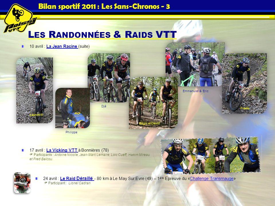 L ES R ANDONNÉES & R AIDS VTT Bilan sportif 2011 : Les Sans-Chronos - 3 10 avril : La Jean Racine (suite)La Jean Racine 17 avril : La Vicking VTT à Bo