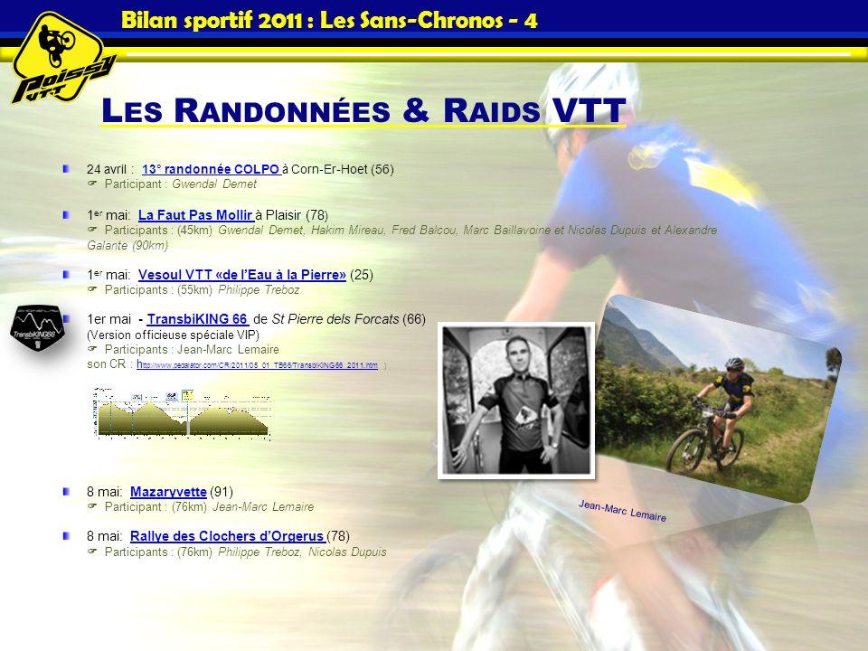 L ES R ANDONNÉES & R AIDS VTT Bilan sportif 2011 : Les Sans-Chronos - 4 24 avril : 13° randonnée COLPO à Corn-Er-Hoet (56)13° randonnée COLPO Particip