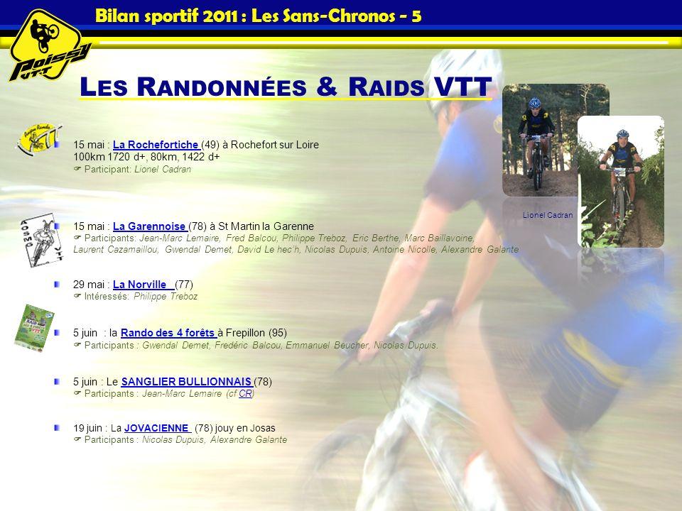 L ES R ANDONNÉES & R AIDS VTT Bilan sportif 2011 : Les Sans-Chronos - 5 15 mai : La Rochefortiche (49) à Rochefort sur Loire 100km 1720 d+, 80km, 1422