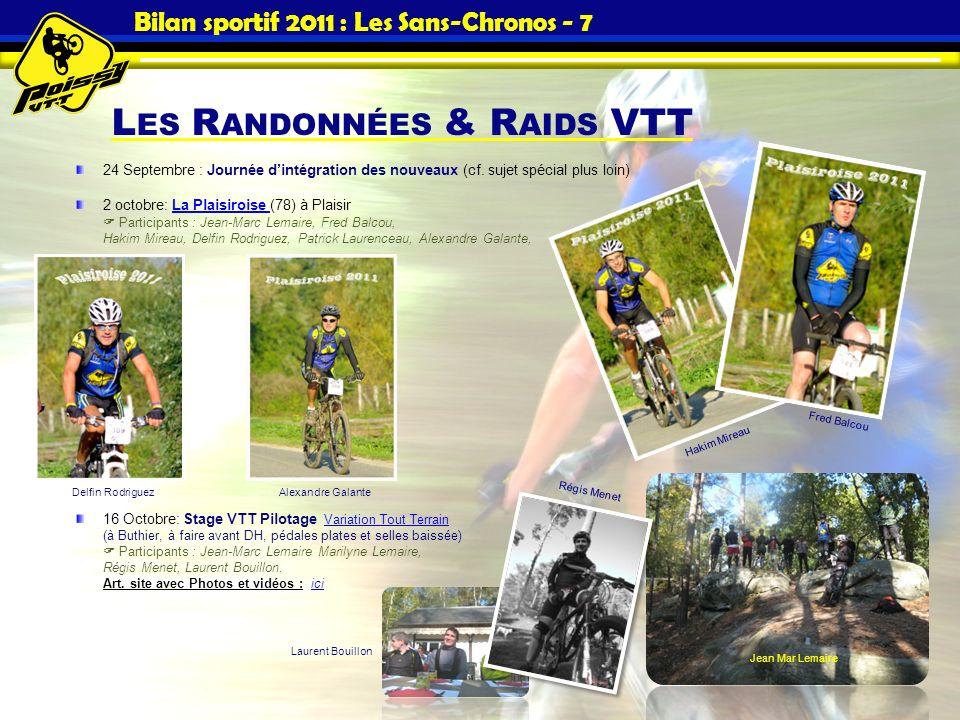 L ES R ANDONNÉES & R AIDS VTT Bilan sportif 2011 : Les Sans-Chronos - 7 24 Septembre : Journée dintégration des nouveaux (cf. sujet spécial plus loin)