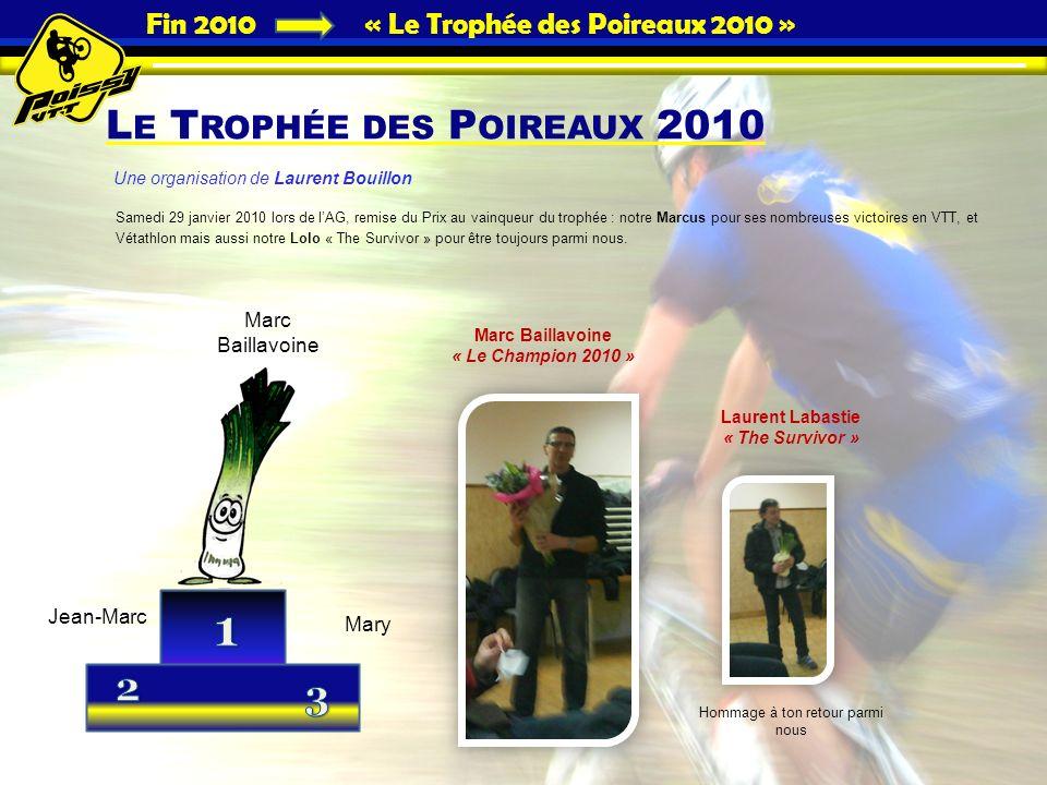 Fin 2010 « Le Trophée des Poireaux 2010 » L E T ROPHÉE DES P OIREAUX 2010 Samedi 29 janvier 2010 lors de lAG, remise du Prix au vainqueur du trophée :