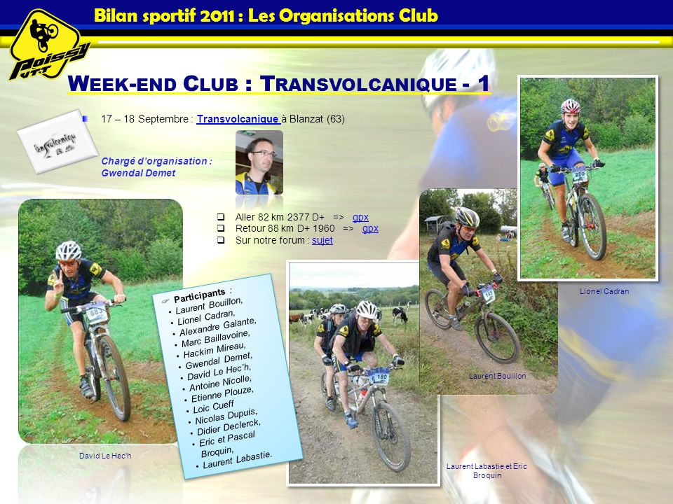 Bilan sportif 2011 : Les Organisations Club 17 – 18 Septembre : Transvolcanique à Blanzat (63) Chargé dorganisation : Gwendal DemetTransvolcanique All