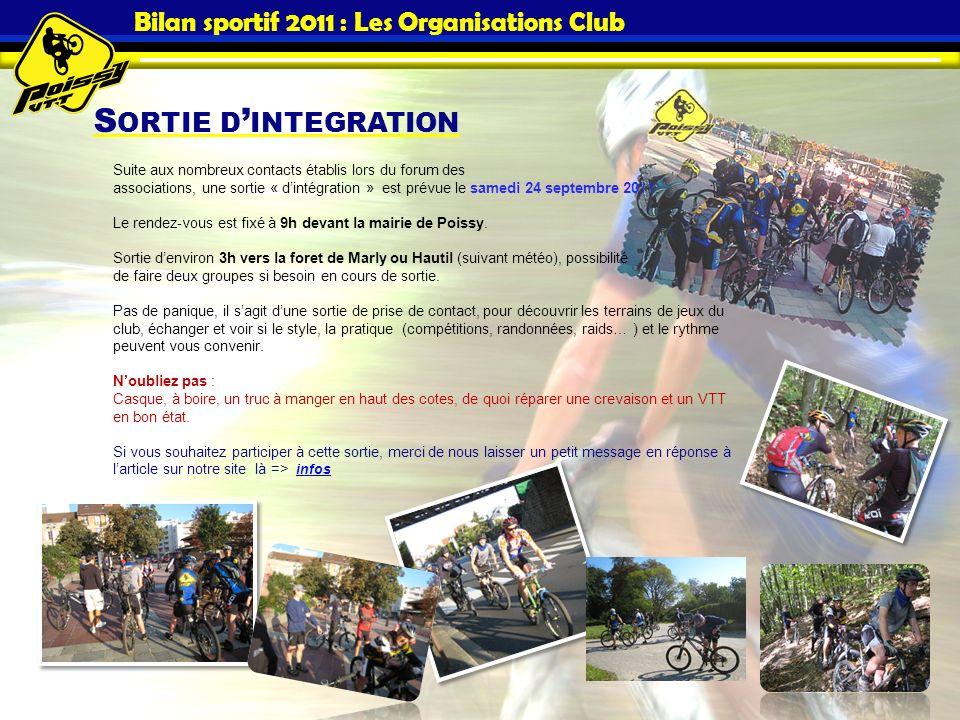 S ORTIE D INTEGRATION Bilan sportif 2011 : Les Organisations Club Suite aux nombreux contacts établis lors du forum des associations, une sortie « din