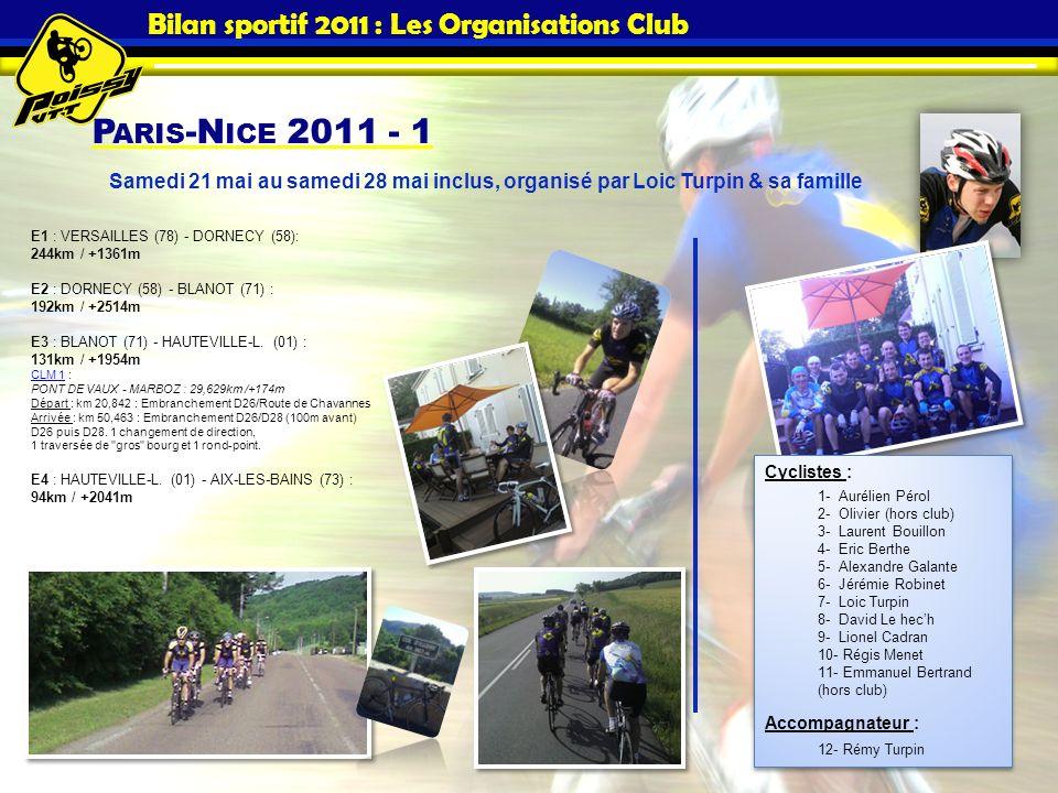 P ARIS -N ICE 2011 - 1 Bilan sportif 2011 : Les Organisations Club E1 : VERSAILLES (78) - DORNECY (58): 244km / +1361m E2 : DORNECY (58) - BLANOT (71)