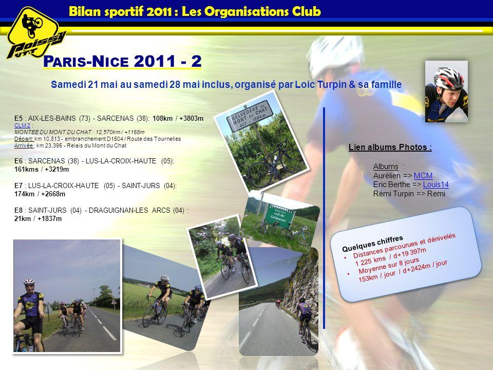 P ARIS -N ICE 2011 - 2 Bilan sportif 2011 : Les Organisations Club E5 : AIX-LES-BAINS (73) - SARCENAS (38): 108km / +3803m CLM 2 : MONTEE DU MONT DU C