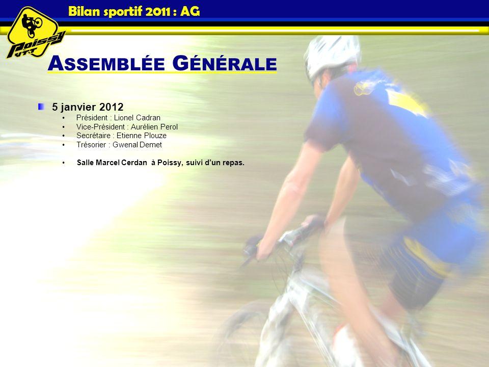 Bilan sportif 2011 : AG 5 janvier 2012 Président : Lionel Cadran Vice-Président : Aurélien Perol Secrétaire : Etienne Plouze Trésorier : Gwenal Demet