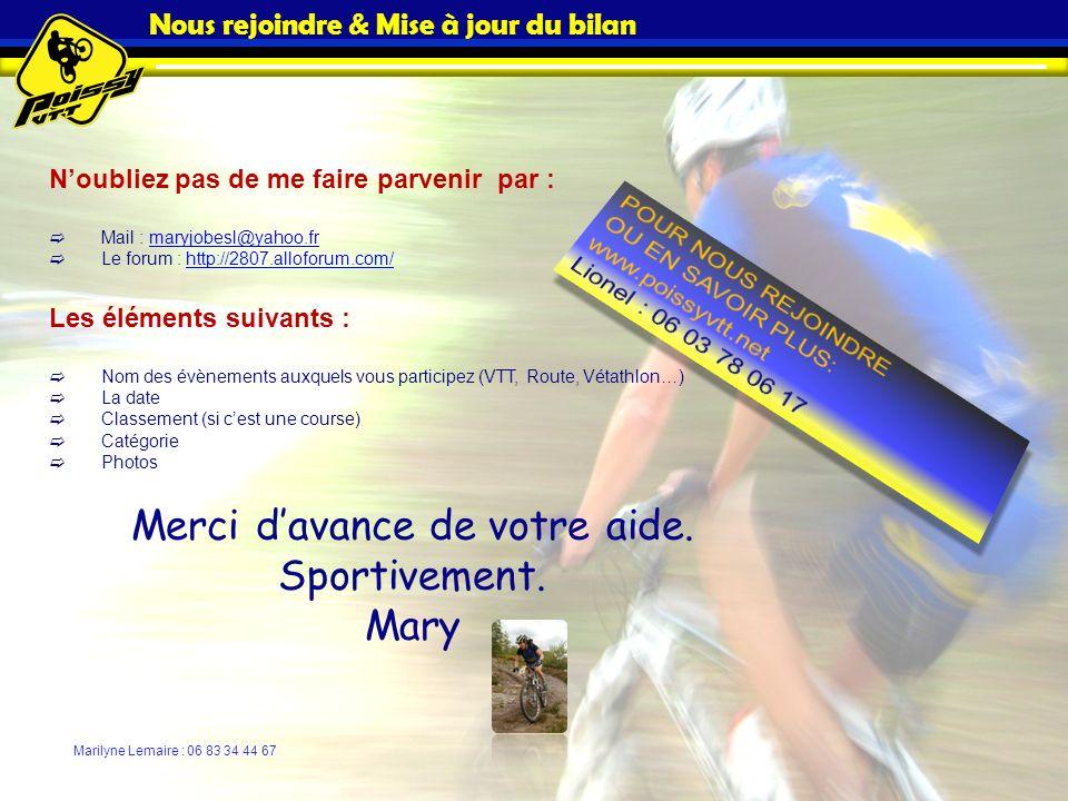 Nous rejoindre & Mise à jour du bilan Noubliez pas de me faire parvenir par : Mail : maryjobesl@yahoo.frmaryjobesl@yahoo.fr Le forum : http://2807.all