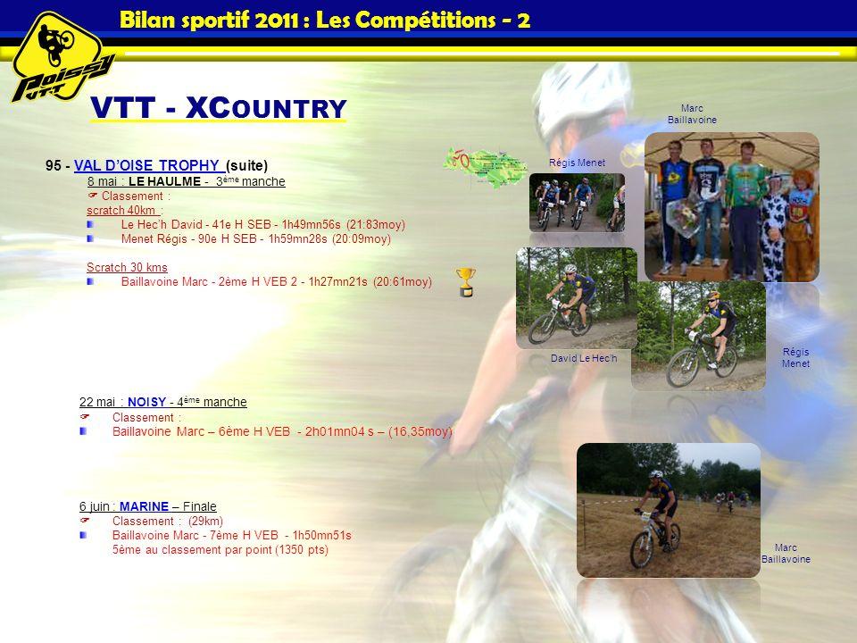 Bilan sportif 2011 : Les Compétitions - 2 VTT - XC OUNTRY 95 - VAL DOISE TROPHY (suite)VAL DOISE TROPHY 8 mai : LE HAULME - 3 ème manche Classement :