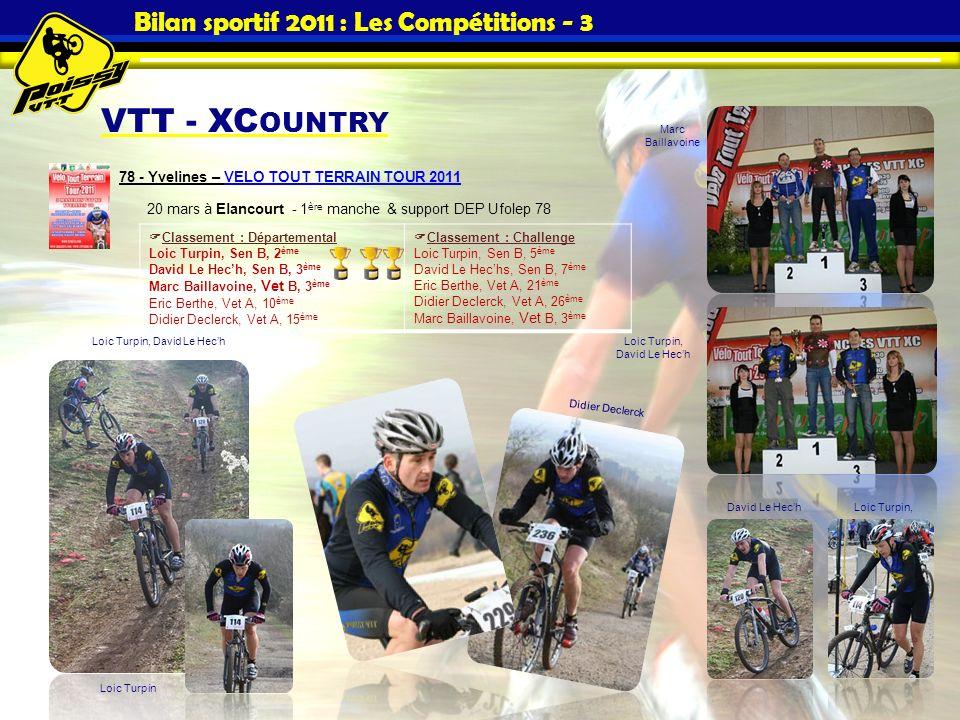 Bilan sportif 2011 : Les Compétitions - 3 VTT - XC OUNTRY 78 - Yvelines – VELO TOUT TERRAIN TOUR 2011 20 mars à Elancourt - 1 ère manche & support DEP