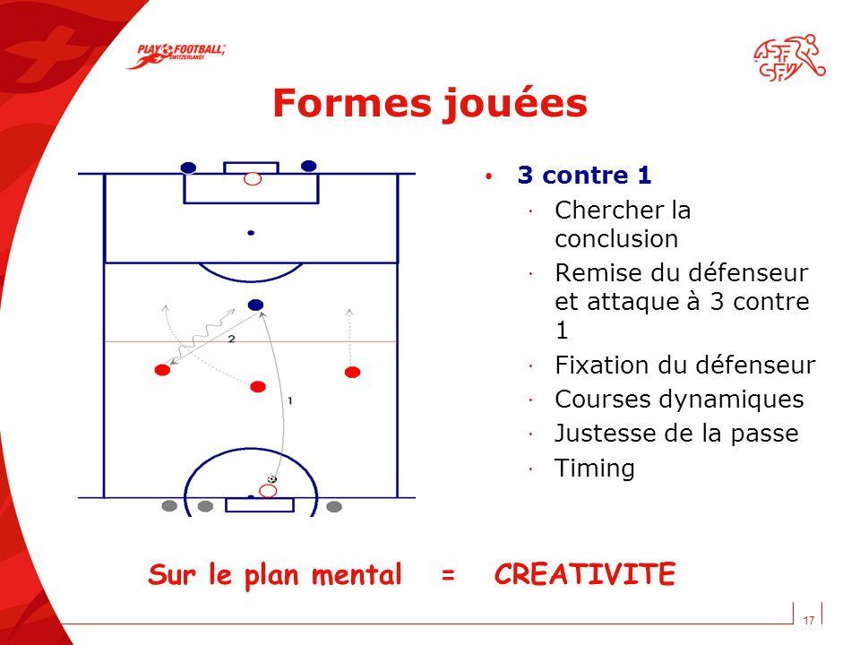 17 Formes jouées 3 contre 1 · Chercher la conclusion · Remise du défenseur et attaque à 3 contre 1 · Fixation du défenseur · Courses dynamiques · Just