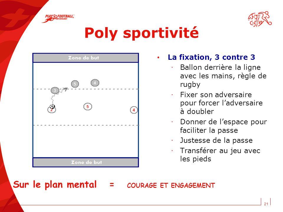 21 Poly sportivité La fixation, 3 contre 3 · Ballon derrière la ligne avec les mains, règle de rugby · Fixer son adversaire pour forcer ladversaire à