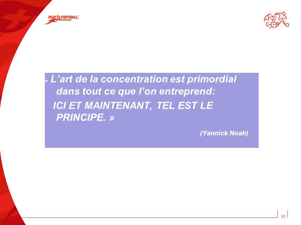 « Lart de la concentration est primordial dans tout ce que lon entreprend: ICI ET MAINTENANT, TEL EST LE PRINCIPE. » (Yannick Noah) 30