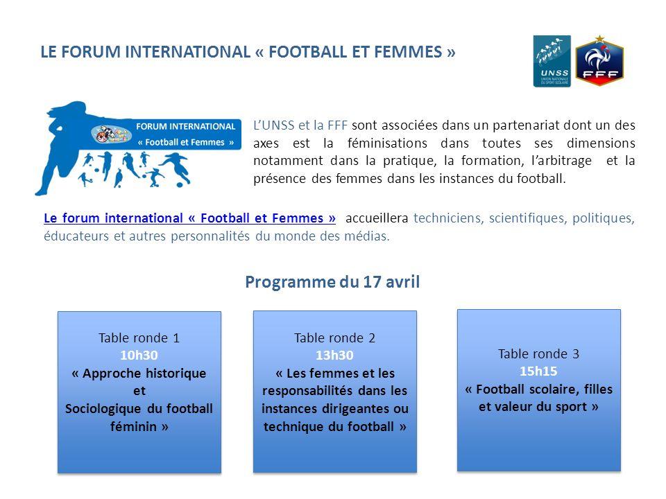 LE FORUM INTERNATIONAL « FOOTBALL ET FEMMES » Table ronde 1 10h30 « Approche historique et Sociologique du football féminin » Table ronde 1 10h30 « Ap
