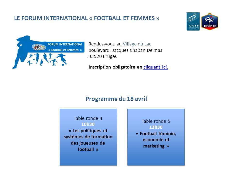 LE FORUM INTERNATIONAL « FOOTBALL ET FEMMES » Table ronde 4 10h30 « Les politiques et systèmes de formation des joueuses de football » Table ronde 4 1