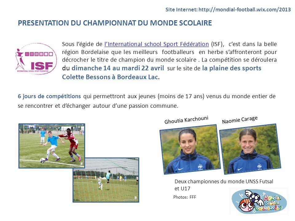 PRESENTATION DU CHAMPIONNAT DU MONDE SCOLAIRE Sous légide de lInternational school Sport Fédération (ISF), cest dans la belle région Bordelaise que le