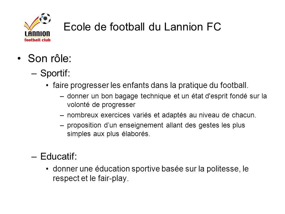 Ecole de football du Lannion FC Son rôle: –Sportif: faire progresser les enfants dans la pratique du football. –donner un bon bagage technique et un é