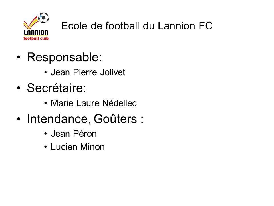 Responsable: Jean Pierre Jolivet Secrétaire: Marie Laure Nédellec Intendance, Goûters : Jean Péron Lucien Minon Ecole de football du Lannion FC