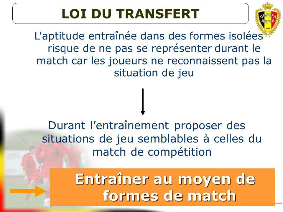 ? Le transfert des habiletés individuelles et collectives apprises pendant les séances dentraînement vers le match de compétition qui suit sera dautan