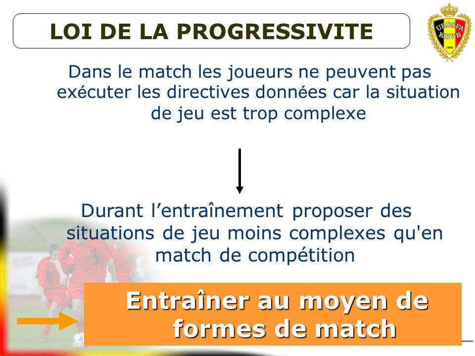 Durant lentraînement proposer des situations de jeu semblables à celles du match de compétition Entraîner au moyen de formes de match Entraîner au moy