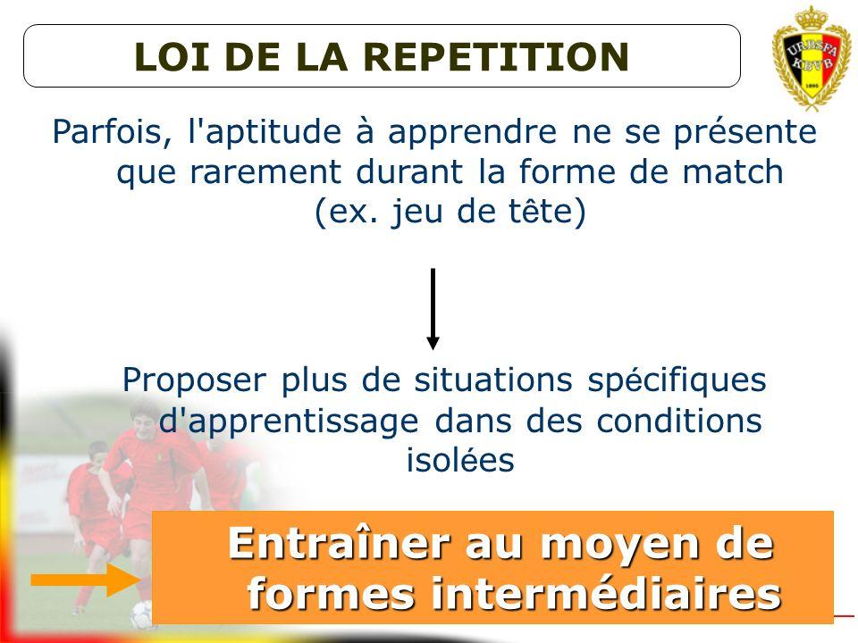 Durant les entra î nements proposer r é guli è rement des situations de jeu identiques Entraîner au moyen de formes de match Entraîner au moyen de for