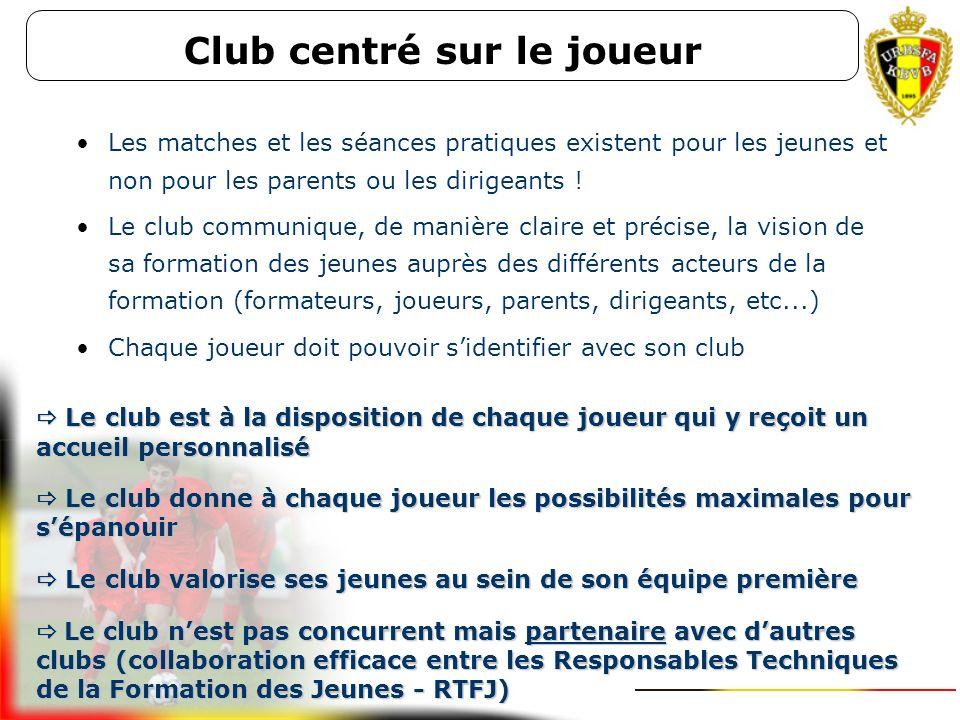 Club centré sur le joueur Chaque joueur se sent bien dans son club Chaque joueur reçoit un accompagnement sportif de qualité : des formateurs de jeune
