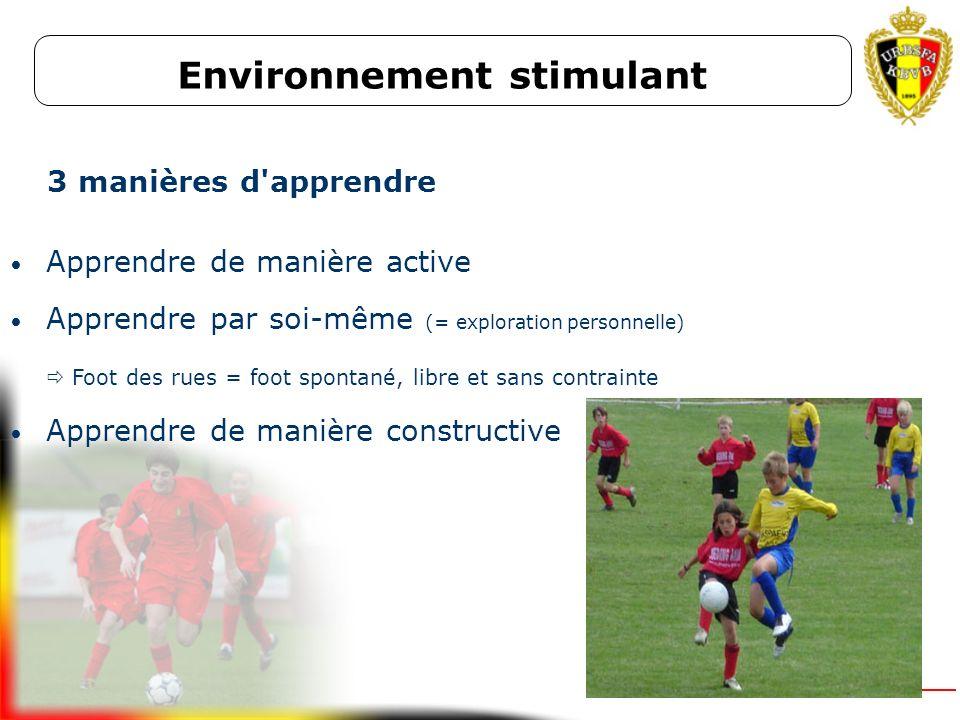 Environnement stimulant Climat dapprentissage stimulant et inspirant Interaction entre le formateur et le jeune joueur Tâches et situations de jeu en